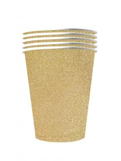Papp-Becher American Cups recyclebar Tischdeko gold 10 Stück 530 ml