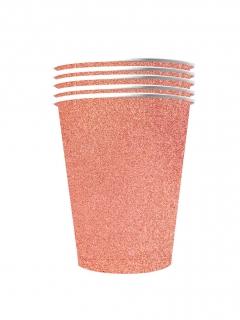 Amerikanische Trinkbecher gross Partydeko glitzernd 10 Stück roségold 530 ml