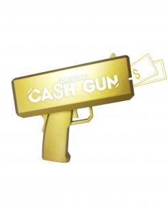 Geld-Pistole 100 Scheine Faschingsaccessoire gold 27,6x35x23 cm