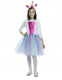 Einhorn-Kostüm für Mädchen Faschingskostüm pastellig weiss-bunt