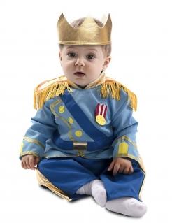Kleiner Prinz Babykostüm für Karneval blau-goldfarben