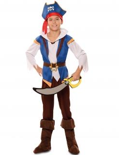 Abenteuer-Pirat-Kostüm für Jungen Faschingskostüm blau-braun