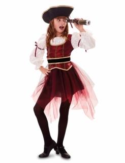 Pirat-Kostüm für Mädchen schicke Korsarin Faschingskostüm rot-schwarz-weiss