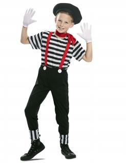 Pantomime-Kostüm für Jungen Faschingskostüm schwarz-weiss-rot