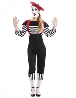 Pantomime-Kostüm für Damen Faschingskostüm schwarz-weiß