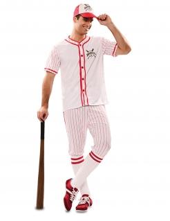 Baseball-Kostüm für Herren Faschingskostüm weiss-rot
