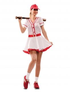 Baseballspielerin-Kostüm Sportliches Karneval-Kostüm für Damen weiss-rot