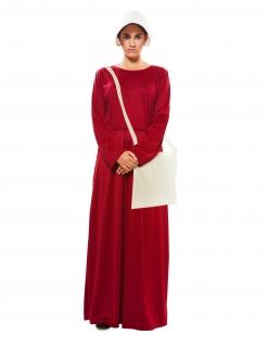 Magd-Kostüm für Damen mit Tasche Faschingskostüm rot-weiss