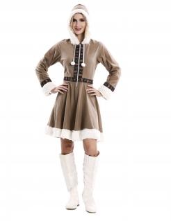 Eskimo-Kostüm für Damen Faschingskostüm braun-weiss