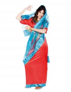 Orientalische Bollywood Tänzerin Damenkostüm rot-blau