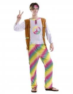 Hippie-Kostüm für Herren Regenbogen bunt