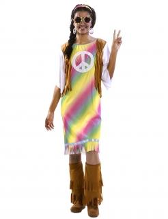 Hippie-Kostüm für Damen mit Fransen bunt-braun