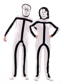 Strichmännchen-Kostüm für Erwachsene Faschingskostüm schwarz-weiss