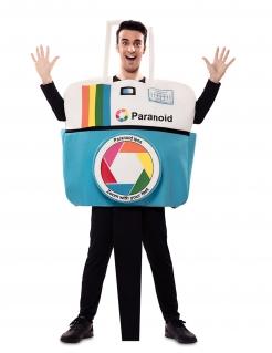 Fotoapparat-Kostüm für Erwachsene Faschingskostüm blau-weiss