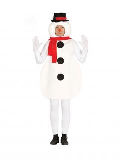 Schneemann-Kostüm für Erwachsene Karneval-Kostüm weiss-rot-schwarz