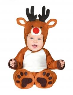 Rentier-Kostüm Weihnachtskostüm für Babys braun-weiss-rot
