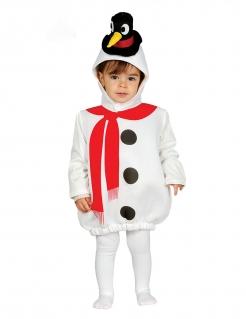 Kinder-Schneemann-Kostüm Karneval-Kostüm weiss-schwarz-rot