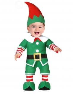 Weihnachtself-Kostüm für Babys Baby-Weihnachtskostüm grün-rot-weiss