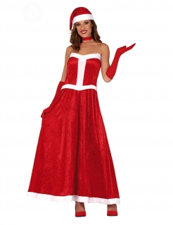 Weihnachtsfrau-Kostüm für Damen Weihnachtskostüm rot-weiss