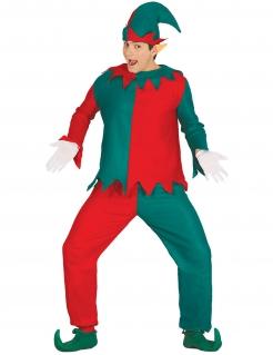 Weihnachtswichtel-Kostüm für Herren Weihnachtskostüm grün-rot