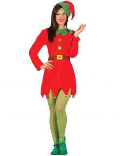 Wichtel-Kostüm für Damen Weihnachtskostüm rot-grün