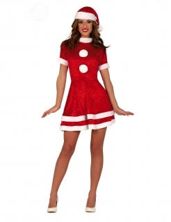 Sexy Weihnachtsfrau-Kostüm Nikolaus-Kostüm Damen rot-weiss