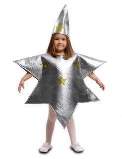 Kinder-Stern-Kostüm Krippenspiel-Kostüm silber-goldfarben