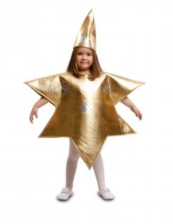 Stern-Kostüm für Kinder Krippenspiel-Kostüm gold-silbernfarben