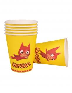 SamSam™-Pappbecher Kindergeburtstag-Deko 6 Stück gelb-rot 250 ml
