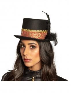 Steampunk-Hut mit Federn für Erwachsene schwarz