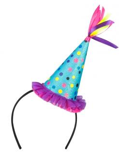 Haarband mit Partyhut für Erwachsene bunt