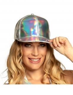 Holografische Mütze glänzendes Accessoire silber
