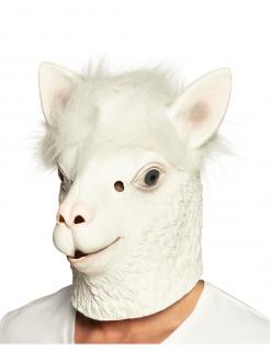 Lama-Vollmaske aus Latex für Erwachsene weiss
