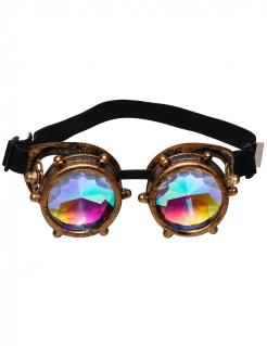 Steampunk-Brille mit Prisma-Gläsern Kostüm-Accessoire braun-bunt