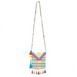Tasche mit Pompons Accessoire bunt