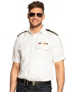 Kapitän-Hemd für Herren Faschingskostüm weiss-schwarz