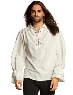 Pirat-Shirt für Herren Mittelalter-Hemd weiss