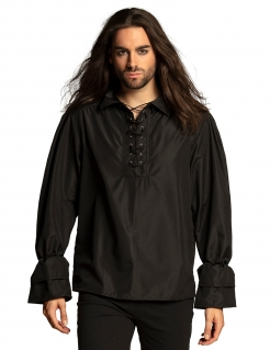 Pirat-Shirt für Herren Mittelalter-Hemd schwarz