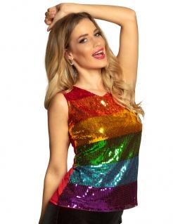 Regenbogen-Shirt für Damen Pailletten-Top bunt