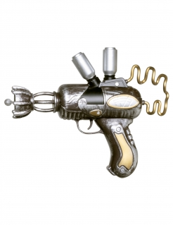 Steampunk Pistole Kostüm-Accessoire silber-gold 25 cm