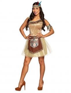 Indianerin-Kostüm sexy Karneval-Kostüm braun-beige-türkis