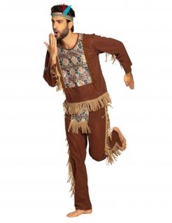 Indianer-Kostüm Karneval-Kostüm für Herren braun-beige-blau