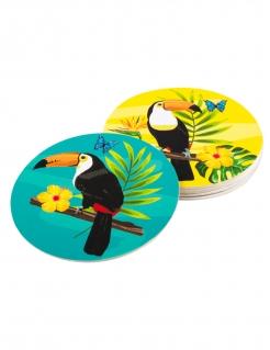 Tukan-Untersetzer Hawaii 6 Stück bunt 10 cm