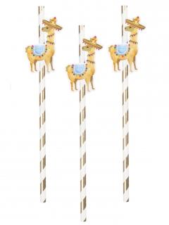 Lama-Trinkhalme Partydeko 6 Stück bunt 20 cm