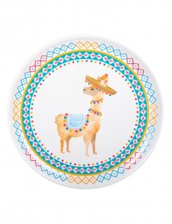 Lama-Teller Tischdeko Mottoparty-Deko bunt 34,5 cm