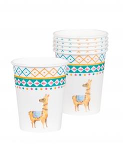 Lama-Pappbecher Trinkbecher Partydeko 6 Stück bunt 250 ml
