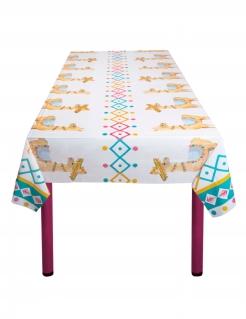 Lama-Tischdecke Kunststoff weiss-bunt 130 x 180 cm