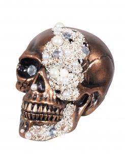 Totenkopf-Dekofigur mit Diamanten Partydeko Halloween bronze-weiss 16x15x21 cm
