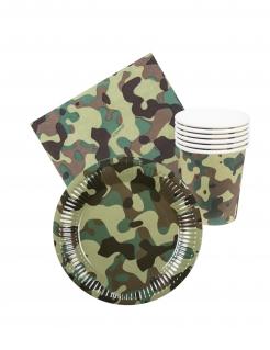 Militär-Partydeko Einweg-Geschirr 24-teilig Camouflage grün