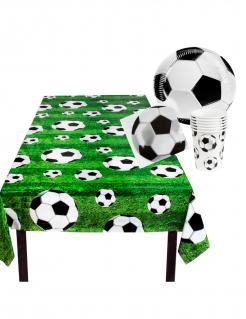 Fussball-Einweggeschirrset 25 teilig grün-schwarz-weiss